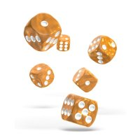 Oakie Doakie Dice W6 Würfel 16 mm Marble - Orange (12)