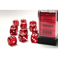 Red w/white Translucent 16mm d6 with pipsDice Block  (12...