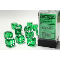 Green w/white Translucent 16mm d6 with pipsDice Block...